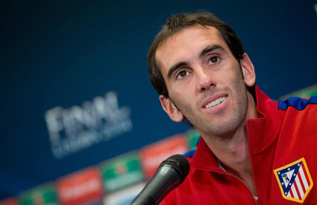 Diego Godin during a press conference prior to the match between Atlético Madrid and Real Madrid CF on May 19, 2014 in Madrid, Spain