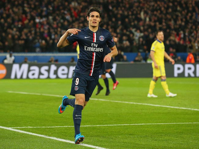 Edinson Cavani celebrating the equalizing goal for his team during a match against Chelsea on February 17, 2015 in Paris, France