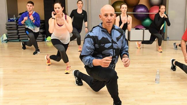 Harley Pasternak leads a workout in Toronto to help launch the new Fitbit Blaze