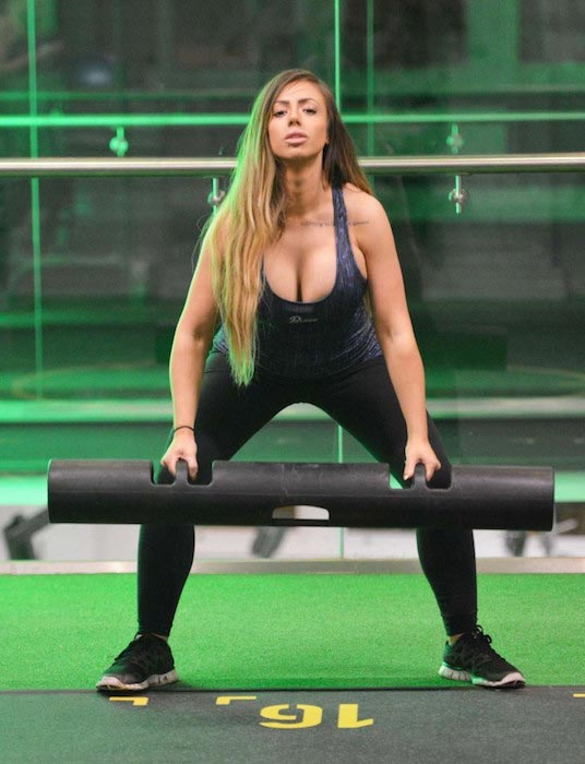 Holly Hagan exercising in the gym