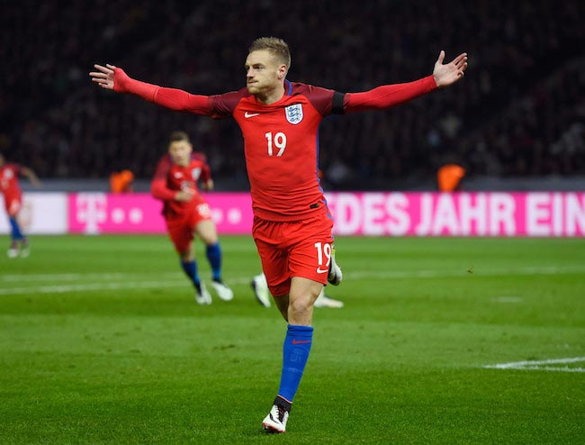 Jamie Vardy celebrating his first goal for England on March 26, 2016 against Germany