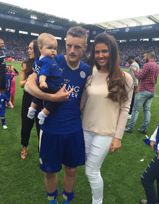 Jamie Vardy with wife Becky Nicholson and daughter Sofia after a match