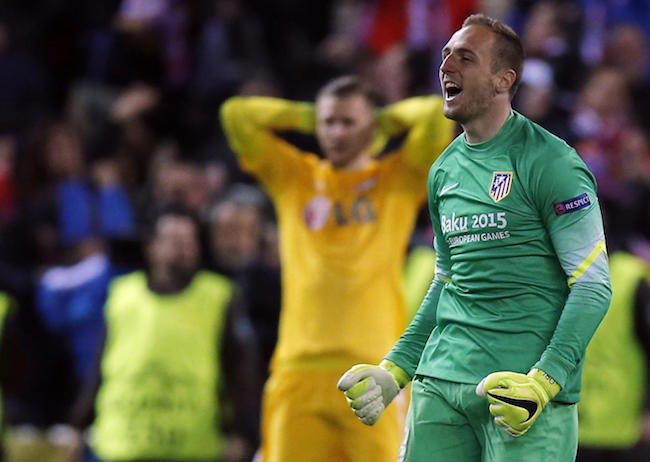 Jan Oblak celebrates victory for his team