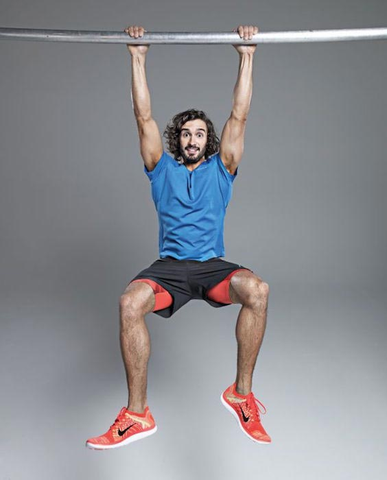 Joe Wicks hanging on the bar