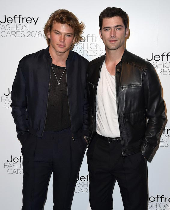 Jordan Barrett and Sean O'Pry at the Jeffrey Fashion Cares 13th Annual Fashion Fundraiser in April 2016