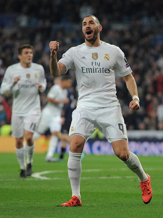 Karim Benzema celebrating a goal against Malmo FF on December 8, 2015 in Madrid, Spain