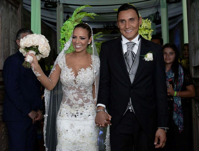 Keylor Navas and Andrea Salas on their wedding day on June 21, 2015