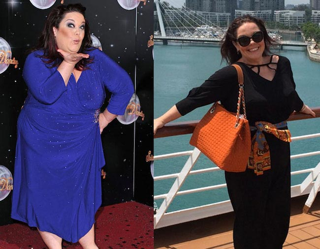 Lisa Riley (Right) at the Strictly Come Dancing launch in 2012, and (Left) in Singapore in February 2016