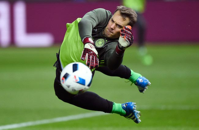 Manuel Neuer working on his goalkeeping parades right before the start of a friendly match between Germany and England on March 26, 2016 in Berlin, Germany