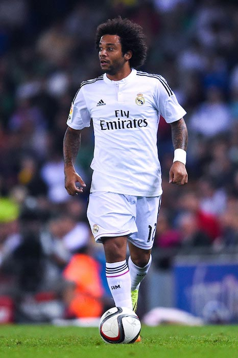 Marcelo Vieira in action during a Copa Del Rey match on October 29, 2014 in Barcelona, Spain