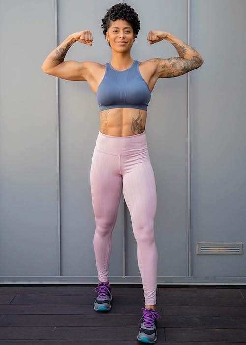 Massy Arias showing her lean muscular body in October 2018