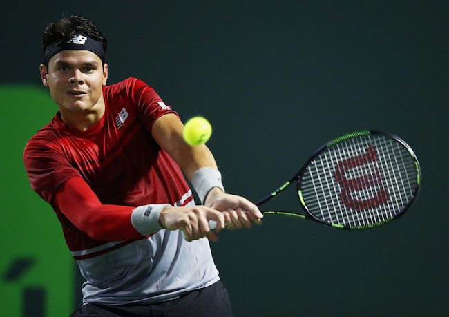 Milos Raonic in action during Miami Open 2016 semi-finals