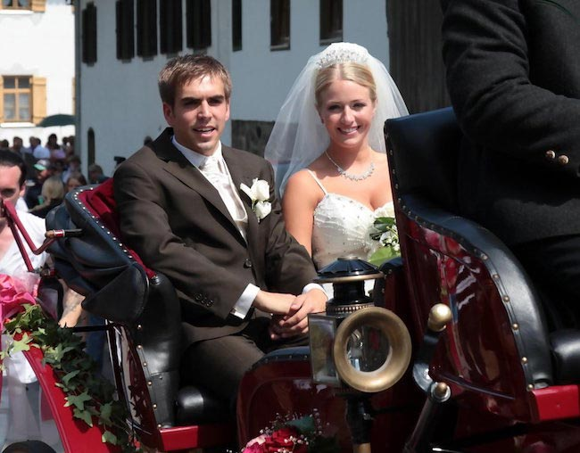 Philipp Lahm and Claudia on their wedding day in Aying, Germany
