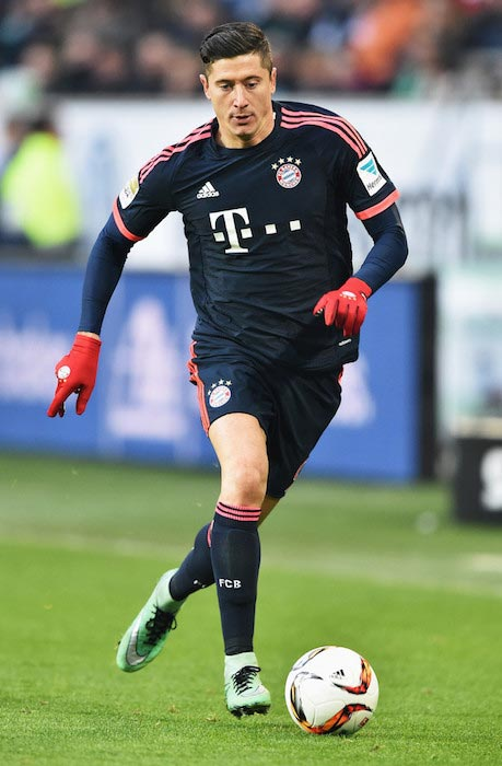 Robert Lewandowski during a match between Bayern Munich and VfL Wolfsburg at Volkswagen Arena on February 27, 2016