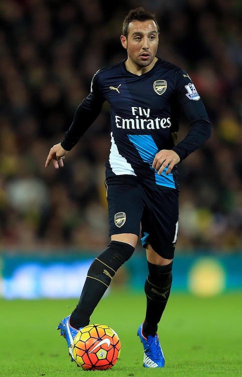 Santi Cazorla in action during a match between Arsenal and Norwich City on November 29, 2015 in Norwich, England