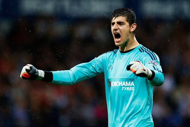 Thibaut Courtois reacts after his team's opening goal in a match against West Bromwich Albion on August 23, 2015