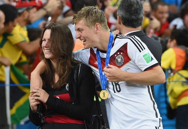 Toni Kroos and Jessica Farber after the 2014 FIFA World Cup Final match between Germany and Argentina on July 13, 2014 in Rio de Janeiro, Brazil