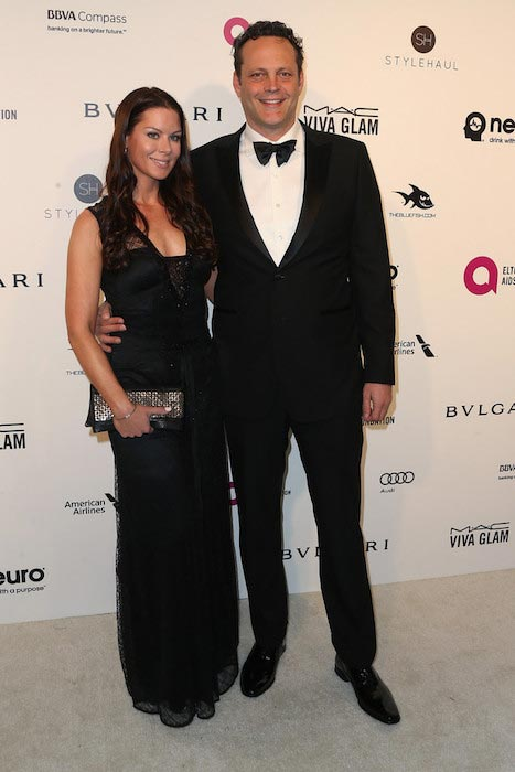 Vince Vaughn and his wife Kyla Weber at the Elton John AIDS Foundation's Party 2016