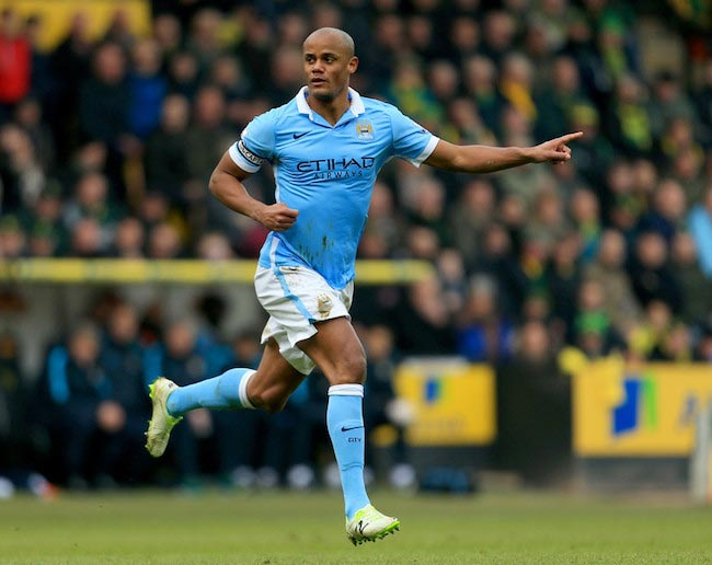 Vincent Kompany during a match against Norwich City on March 12, 2016 in Norwich, England
