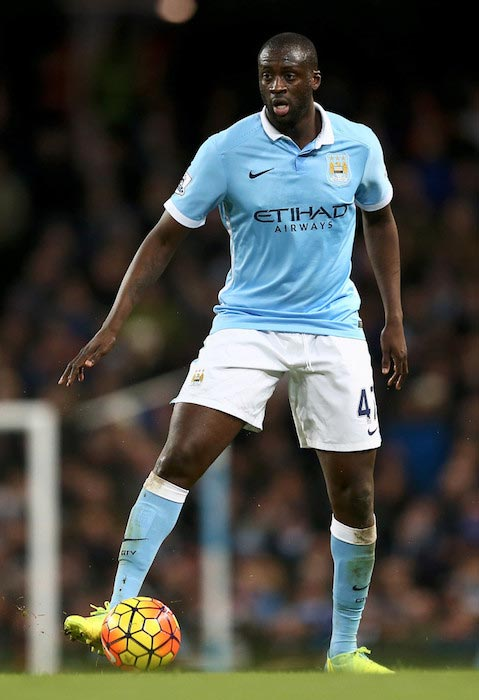 Yaya Toure with the ball during a match between Manchester City and Tottenham Hotspur on February 14, 2016