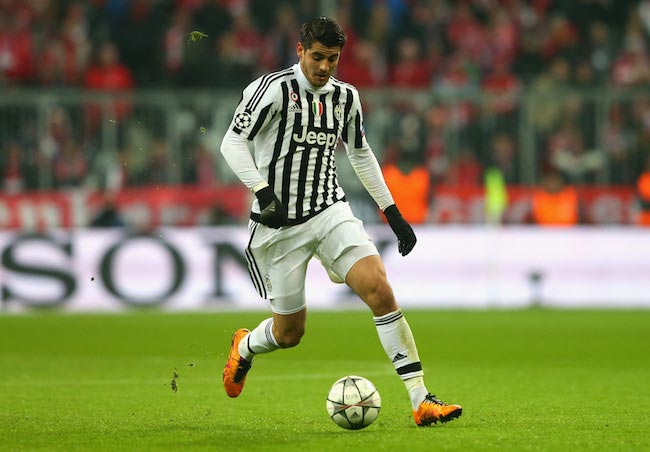 Alvaro Morata in action during UEFA Champions League match between FC Bayern Munich and Juventus on March 16, 2016