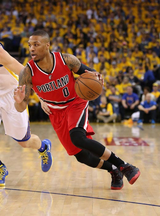 Damian Lillard in action during a Western Conference semi-finals match between Golden State Warriors and Portland Trail Blazers on May 11, 2016