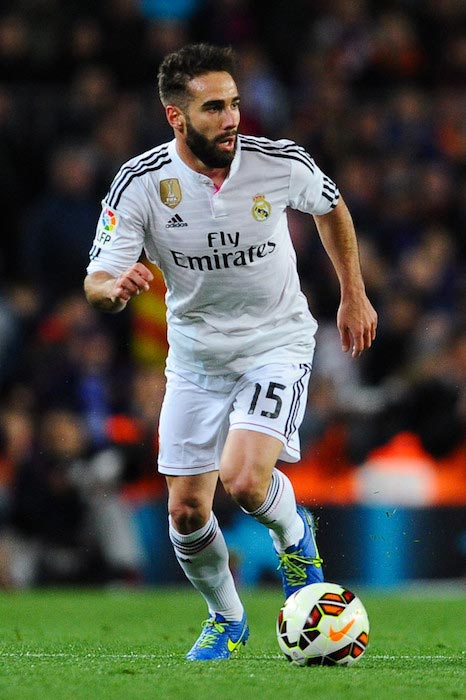 Dani Carvajal in attack mode during a La Liga match between Real Madrid and FC Barcelona on March 22, 2015