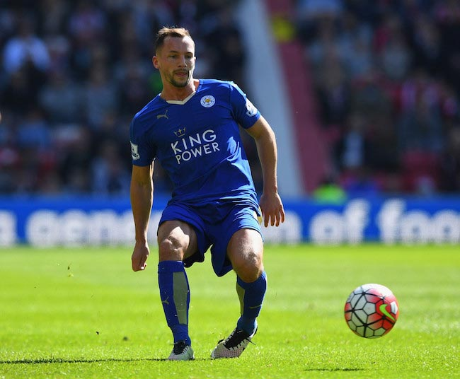 Danny Drinkwater of Leicester City in action during a match against Sunderland on April 10, 2016