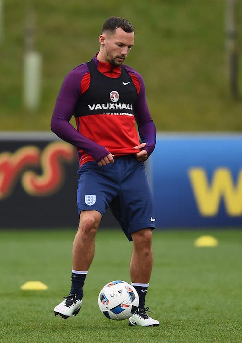 Danny Drinkwater training with the national team of England on March 22, 2016 in Burton-upon-Trent, England