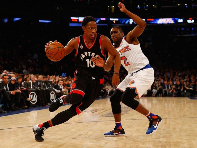 DeMar DeRozan attacks Langston Galloway in a match at Madison Square Garden on February 22, 2016