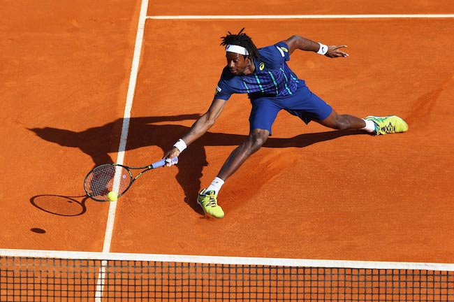 Gael Monfils in action during a match against Marcel Granollers on the sixth day of the Monte Carlo Rolex Masters on April 15, 2016