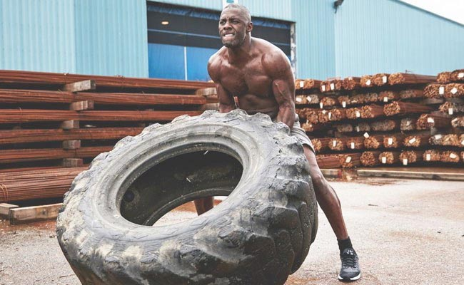 Idris Elba tyre workout