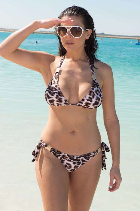 Imogen Thomas in leopard print bikini in March 2015