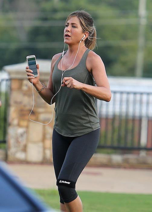 Jennifer Aniston in her workout gear