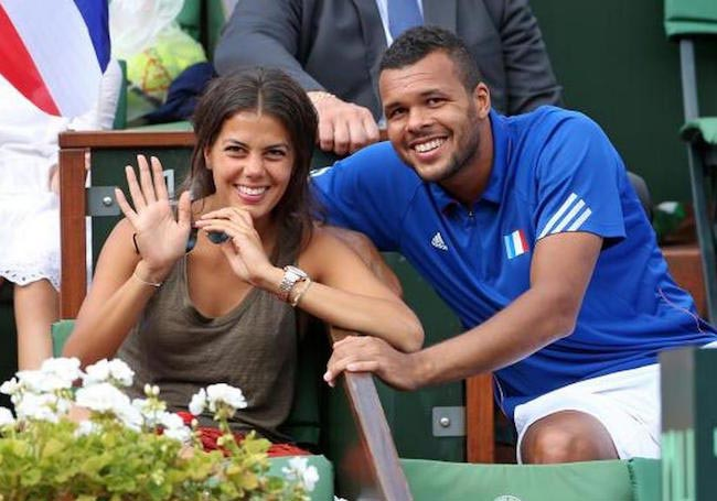 Jo-Wilfried Tsonga with his girlfriend Noura El Swekh