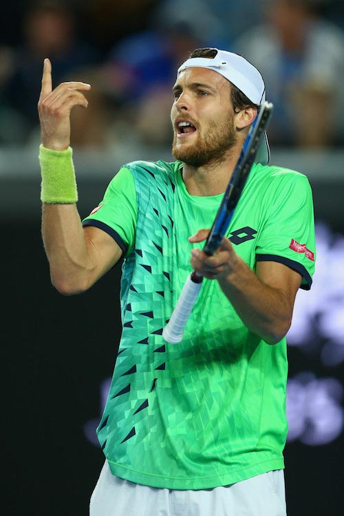 Joao Sousa during 2016 Australian Open match against Andy Murray on January 23, 2016