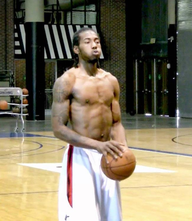 Kawhi Leonard shirtless body during a training session prior to the 2011 NBA Draft