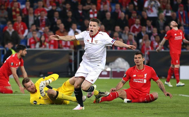 Kevin Gameiro's reaction after he scored Sevilla's first goal in the UEFA Europa League Final match against Liverpool on May 18, 2016