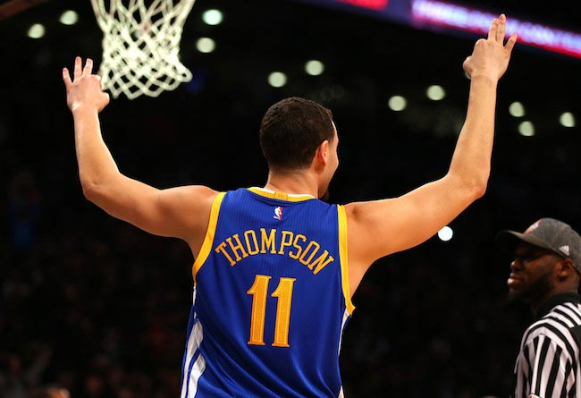 Klay Thompson's reaction after winning the Foot Locker Three-Point Contest at the 2016 NBA All-Star Weekend on February 13, 2016 in Toronto, Canada
