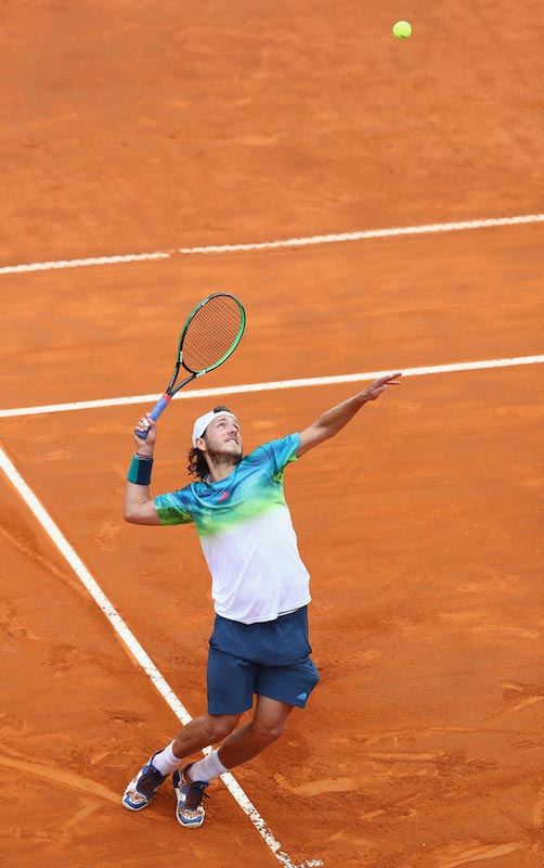 Lucas Pouille serves against Andy Murray at The Internazionali BNL d'Italia 2016 on May 14, 2016 in Rome, Italy
