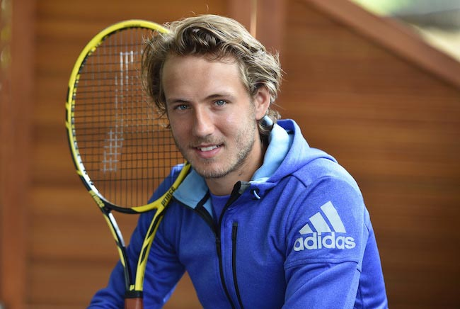 Lucas Pouille during a photo-session for the sportswear brand Adidas