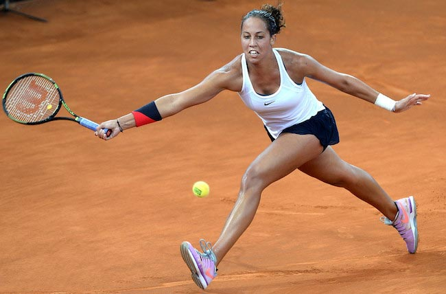 Madison Keys in action in a match against Daria Gavrilova in the Fed Cup on April 16, 2016 in Brisbane, Australia