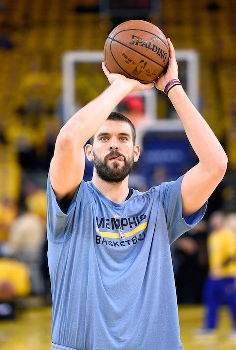 Marc Gasol during a warm-up before the start of the match between Memphis Grizzlies and Golden State Warriors on May 5, 2015