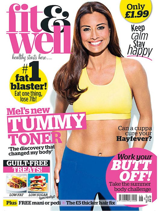 Melanie Sykes on the cover of Fit & Well magazine