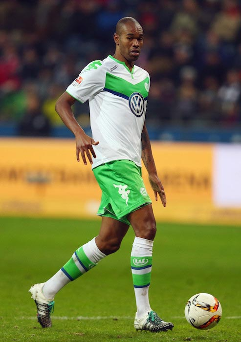 Naldo with the ball during a Bundesliga match between VfL Wolfsburg and Eintracht Frankfurt on January 24, 2016