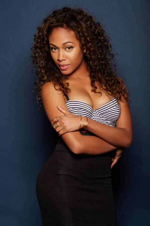 Nicole Beharie posing for Playboy.com in a photoshoot in September 2015