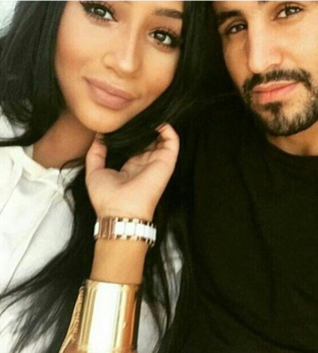 Riyad Mahrez with his wife Rita Johal