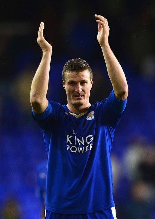 Robert Huth cheering his team's fans after a win over Tottenham Hotspur on January 13, 2016 in London, England