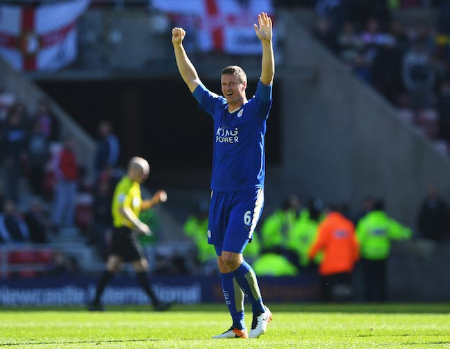 Robert Huth showing excitement after a victory against Sunderland on April 10, 2016
