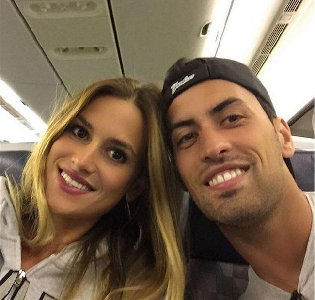 Sergio Busquets and Elena Galera